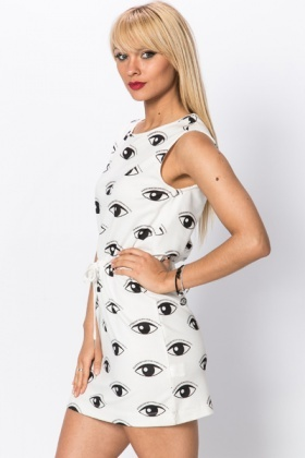 Eye Print Drawstring Dress