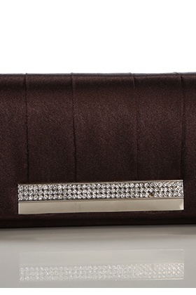 Large Satin Pleats & Rhinestone Panel Clutch