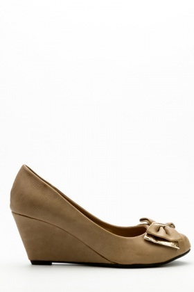 Layered Bow Wedge Shoes
