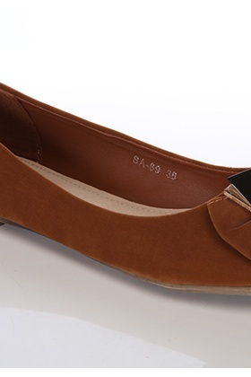 Two Tone Square Detail Velour Flats