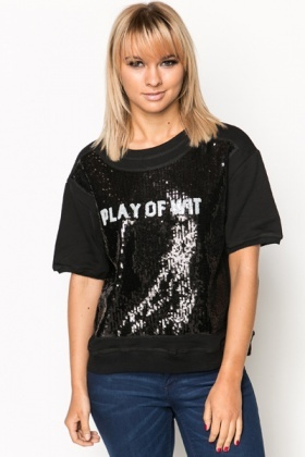 Sequin Slogan Sweatshirt