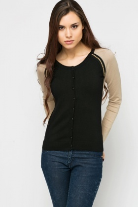 Chain Trim Contrast Sleeve Cardigan