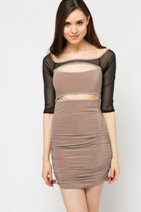 Cut-Out Mesh Insert Slinky Dress