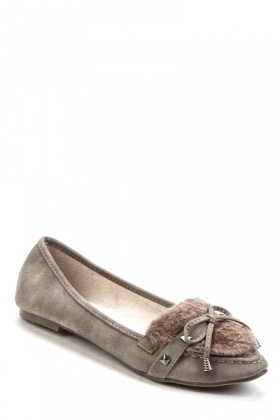 Faux Fur Bow Toe Flats