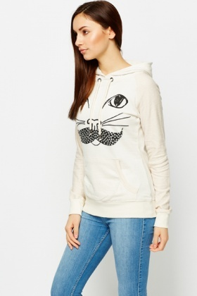 Studded Cat Moustache Hoodie