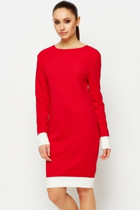 Contrast Trim Ribbed Dress