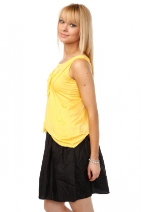 Layered T-Shirt & Taffeta Skirt Dress