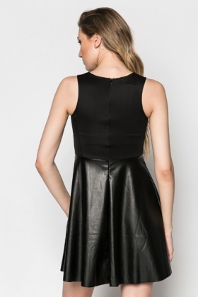 Faux Leather Panel A-Line Dress