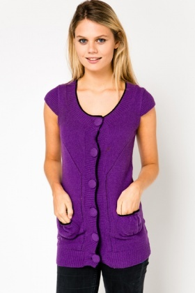 Contrast Trim Sleeveless Cardigan