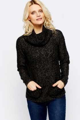 Mix Knit Roll Neck Jumper