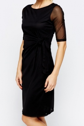 Sheer Sleeve Tie Up Dress