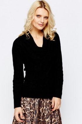 Shawl Collar Mix Knit Pullover