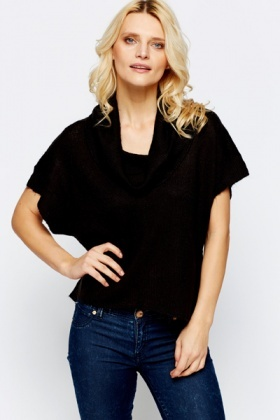 Cowl Neck Short Sleeve Pullover