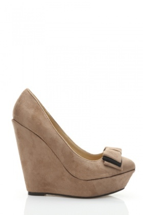 Bow Detail Platform Wedge Heels - Rouge or Vert - Just £5