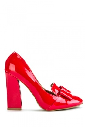 Patent PVC Block Heel Shoes