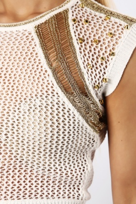 Stud Embellished Perforated Crop Top
