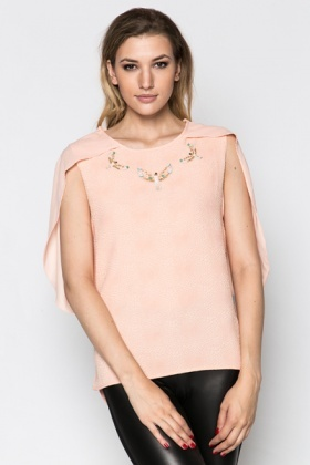 Eagle Embellished Textured Top