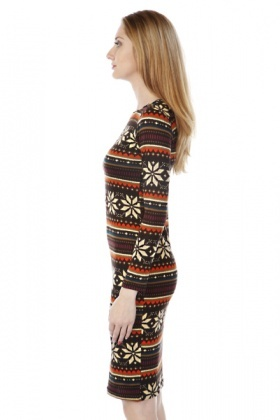Snow Flake Pattern Fleece Midi Dress