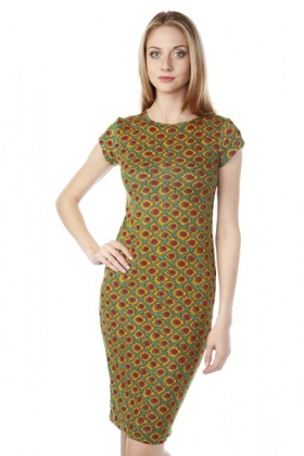 Sunflower Print Fleece Midi Dress