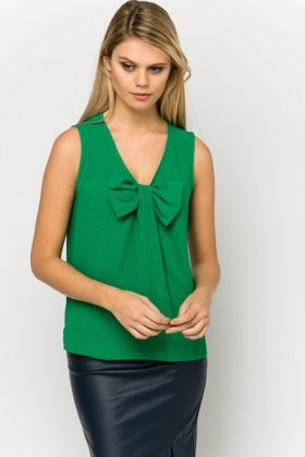 Large Bow Textured Blouse