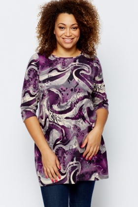 Swirled Animal Print Tunic