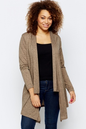 Marble Effect Open Front Cardigan