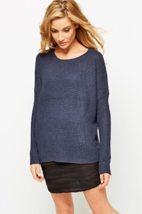 Perforated Round Neck Sweater