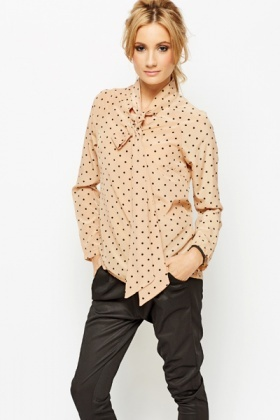 Tie-Up Neck Polka Dot Blouse