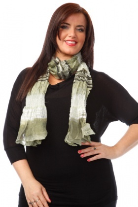 Shirred Nylon Slim Scarf