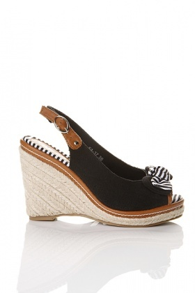 Bow Canvas Espadrille Sandals