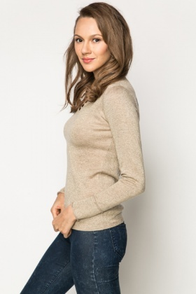Button Trim Metallic Pullover