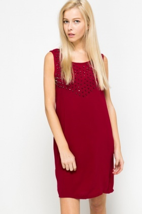 Stud Embellished Shift Dress