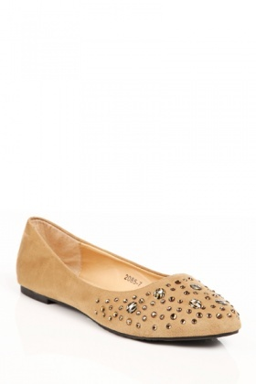 Diamante Toe Flats