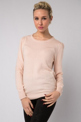 Rib Neck Wool Blend Jumper