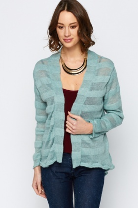 Striped Knit Open Front Cardigan