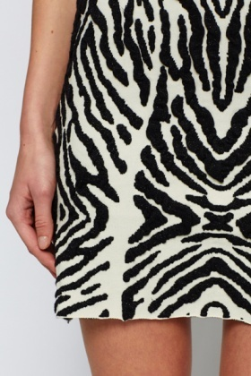 Metallic Zebra Print Fleece Skirt