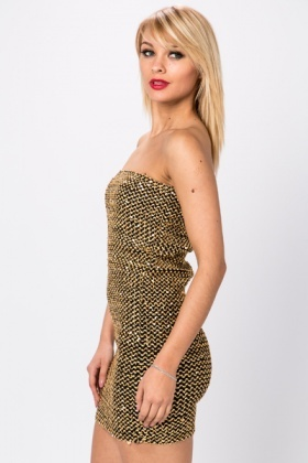Sequined Bandeau Bodycon Dress