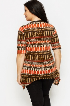 Letterprint Asymmetric Tunic