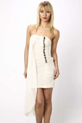 Bandeau Ruched Side Embellished Dress