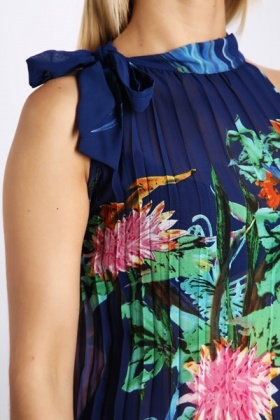 Floral Pleated Chiffon Dress Top