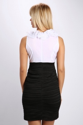 Ruffle Front Shirred Two Tone Dress