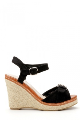 Buckle Front Woven Wedge Sandals