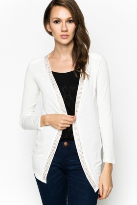 Stud Trim Open Front Cardigan