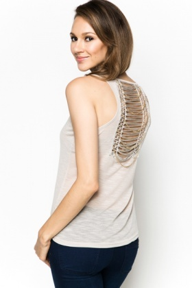Shred Effect & Chain Back Vest Top
