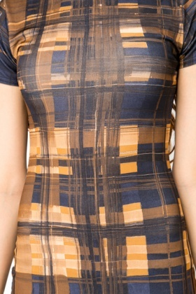 Graphic Check Midi Dress
