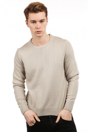 Ribbed Round Neck Pullover