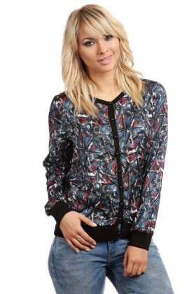 Multi Print V-Neck Buttoned Front Top