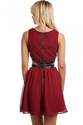 Lace Top Faux Leather Cut Out Skater Dress