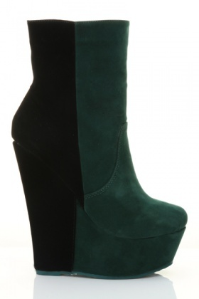 Colour Panel Wedge Calf Boots
