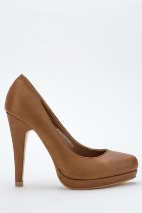 Faux Leather Heel Court Shoes